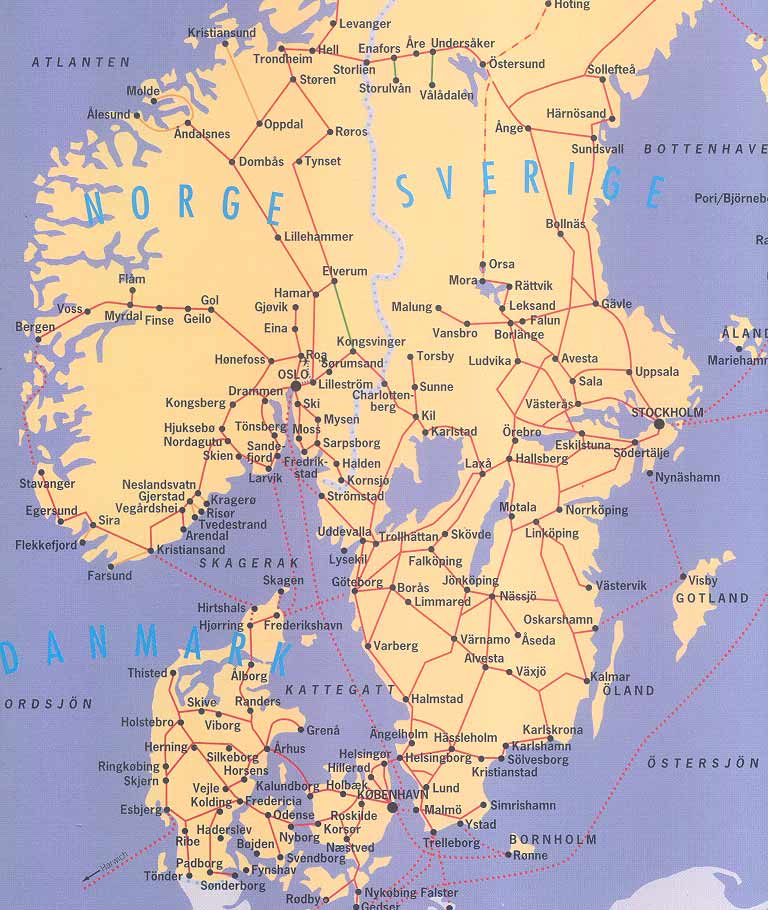 ScanRail map for Scandinavia